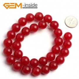 "G6451 12mm Round Red Jade Loose Beads Stone Strand 15 "" Stone Beads for Jewelry Making Wholesale"