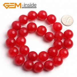 "G6452 14mm Round Red Jade Loose Beads Stone Strand 15 "" Stone Beads for Jewelry Making Wholesale"