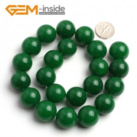 "G6460 18mm Round Green Jade Gemstone Loose Beads15"" Natural Stone Beads for Jewelry Making Wholesale"