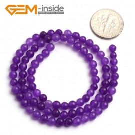 "G6467 4mm Round Dark Purple Jade Gemstone Beads15"" Jewelry Making Loose Beads 4-18mm Pick Natural Stone Beads for Jewelry Making Wholesale"