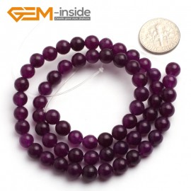 "G6468 6mm Round Dark Purple Jade Gemstone Beads15"" Jewelry Making Loose Beads 4-18mm Pick Natural Stone Beads for Jewelry Making Wholesale"