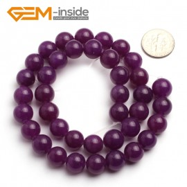 "G6470 10mm Round Dark Purple Jade Gemstone Beads15"" Jewelry Making Loose Beads 4-18mm Pick Natural Stone Beads for Jewelry Making Wholesale"