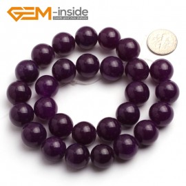 "G6472 14mm Round Dark Purple Jade Gemstone Beads15"" Jewelry Making Loose Beads 4-18mm Pick Natural Stone Beads for Jewelry Making Wholesale"