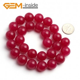 "G6486 Plum 14mm Round Smooth Jade Beads Jewellery Making Loose Beads 15"" Pick Size & Colour Natural Stone Beads for Jewelry Making Wholesale"