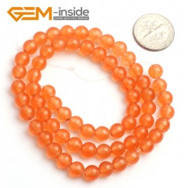 "G6489 6mm Round Orange Jade Beads Jewelry Making Loose Beads 15"" Natural Stone Beads for Jewelry Making Wholesale"