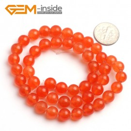 "G6490 8mm Round Orange Jade Beads Jewelry Making Loose Beads 15"" Natural Stone Beads for Jewelry Making Wholesale"