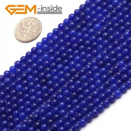 "G6494 4mm Round Dark Blue Jade Beads Jewelry Making Loose Beads Strand 15"" 4-14mm Pick Natural Stone Beads for Jewelry Making Wholesale"