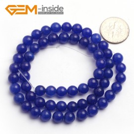 "G6495 6mm Round Dark Blue Jade Beads Jewelry Making Loose Beads Strand 15"" 4-14mm Pick Natural Stone Beads for Jewelry Making Wholesale"