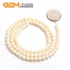 "G6505 4mm Natural Round Cream White Coral Gemstone DIY Jewelry Making Beads 15"" 4-12mm Natural Stone Beads for Jewelry Making Wholesale`"