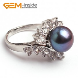 G6552 black Fsahion 9-10mm freshwater pearl white gold plated rings with rhinestone 4 colors Rings Fashion Jewelry Jewellery