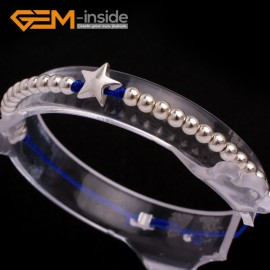 """G6587 blue New Fashion silver star/ball beads rope bracelets adjustable 7"""" 12 colors select Fashion Jewelry Jewellery Bracelets  for women"""