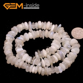 "G6643 White Moonstone 3-5x10-12mm Freeform Potato Shape Gemstone Loose Beads Strand 15""Free Shipping Natural Stone Beads for Jewelry Making Wholesale`"