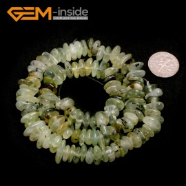 "G6644 Green Prehnite 3-5x10-12mm Freeform Potato Shape Gemstone Loose Beads Strand 15""Free Shipping Natural Stone Beads for Jewelry Making Wholesale`"