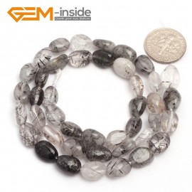 "G6682 6x8mm Black Rutilated Quartz Freeform Gemstone Loose Beads Strand 15"" Natural Stone Beads for Jewelry Making Wholesale"