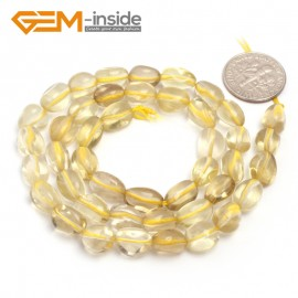 "G6684 6x8mm Lemon Quartz Freeform Gemstone Loose Beads Strand 15"" Natural Stone Beads for Jewelry Making Wholesale"