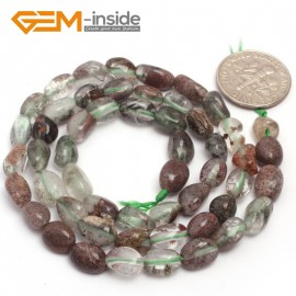 "G6692 6x8mm Green Ghost Quartz Freeform Gemstone Loose Beads Strand 15"" Natural Stone Beads for Jewelry Making Wholesale"