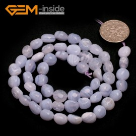 "G6702 6x8mm Blue Chalcedony Freeform Gemstone Loose Beads Strand 15"" Natural Stone Beads for Jewelry Making Wholesale"