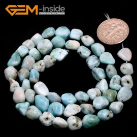 "G6703 6x8mm Green Larimar Freeform Gemstone Loose Beads Strand 15"" Natural Stone Beads for Jewelry Making Wholesale"