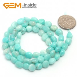 "G6711  6x8mm Light Blue Amazonite Freeform Gemstone Loose Beads Strand 15"" Natural Stone Beads for Jewelry Making Wholesale"