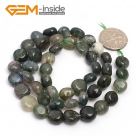 "G6747 Moss Agate 9x12mm Natural Freeform Potato Shape Jewelry Making Gemstone Loose Beads15"" Natural Stone Beads for Jewelry Making Wholesale"