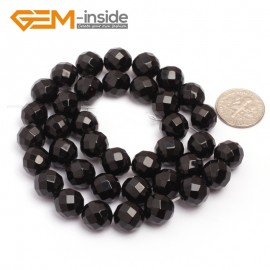 "G6810 10mm 32 Faces Round Faceted Black Agate Natural Onyx Beads 15""Jewelry Making Beads Natural Stone Beads for Jewelry Making Wholesale"
