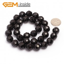 "G6811 12mm 32 Faces Round Faceted Black Agate Natural Onyx Beads 15""Jewelry Making Beads Natural Stone Beads for Jewelry Making Wholesale"