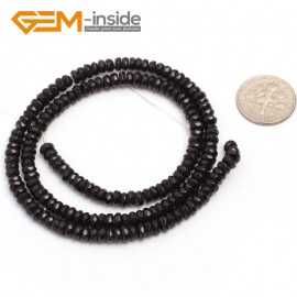"G6813 2x4mm Rondelle Faceted Black Agate Beads Onyx Jewelry Making Beads 15"" Selctable Sizes Natural Stone Beads for Jewelry Making Wholesale`"