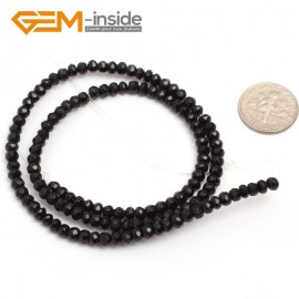 "G6814 3x4mm Rondelle Faceted Black Agate Beads Onyx Jewelry Making Beads 15"" Selctable Sizes Natural Stone Beads for Jewelry Making Wholesale`"