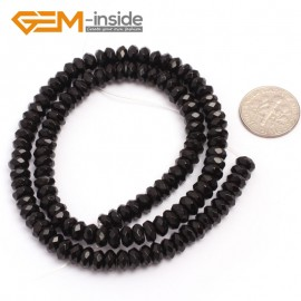 "G6815 3x6mm  Rondelle Faceted Black Agate Beads Onyx Jewelry Making Beads 15"" Selctable Sizes Natural Stone Beads for Jewelry Making Wholesale`"