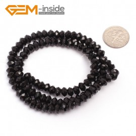 "G6816 4x6mm Rondelle Faceted Black Agate Beads Onyx Jewelry Making Beads 15"" Selctable Sizes Natural Stone Beads for Jewelry Making Wholesale`"