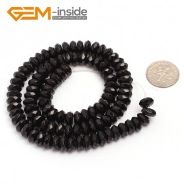 "G6817 4x8mm Rondelle Faceted Black Agate Beads Onyx Jewelry Making Beads 15"" Selctable Sizes Natural Stone Beads for Jewelry Making Wholesale`"