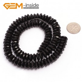 "G6818 4x10mm Rondelle Faceted Black Agate Beads Onyx Jewelry Making Beads 15"" Selctable Sizes Natural Stone Beads for Jewelry Making Wholesale`"