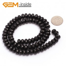 "G6819 5x8mm Rondelle Faceted Black Agate Beads Onyx Jewelry Making Beads 15"" Selctable Sizes Natural Stone Beads for Jewelry Making Wholesale`"
