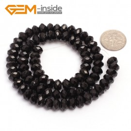 "G6820 5x8mm Rondelle Faceted Black Agate Beads Onyx Jewelry Making Beads 15"" Selctable Sizes Natural Stone Beads for Jewelry Making Wholesale`"