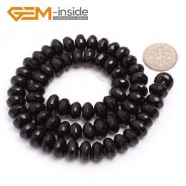 "G6821 6x10mm Rondelle Faceted Black Agate Beads Onyx Jewelry Making Beads 15"" Selctable Sizes Natural Stone Beads for Jewelry Making Wholesale`"