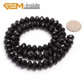 "G6822 6x10mm Rondelle Faceted Black Agate Beads Onyx Jewelry Making Beads 15"" Selctable Sizes Natural Stone Beads for Jewelry Making Wholesale`"