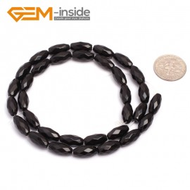 """G6823 6x12mm Natural Faceted Olivary Black Agate Onyx Beads Jewelry Making Gemstone Beads15"""" Natural Stone Beads for Jewelry Making Wholesale"""