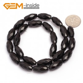 "G6825 8x16(4 facets) Natural Faceted Olivary Black Agate Onyx Beads Jewelry Making Gemstone Beads15"" Natural Stone Beads for Jewelry Making Wholesale"
