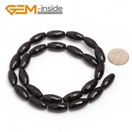 "G6826 8x16(6 facets) Natural Faceted Olivary Black Agate Onyx Beads Jewelry Making Gemstone Beads15"" Natural Stone Beads for Jewelry Making Wholesale"