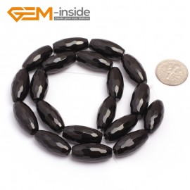 """G6828 10x20mm Natural Faceted Olivary Black Agate Onyx Beads Jewelry Making Gemstone Beads15"""" Natural Stone Beads for Jewelry Making Wholesale"""