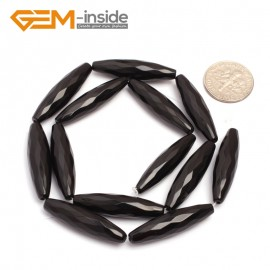 "G6829 8x30mm  Natural Faceted Olivary Black Agate Onyx Beads Jewelry Making Gemstone Beads15"" Natural Stone Beads for Jewelry Making Wholesale"