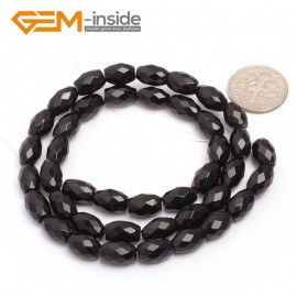 "G6832 6x9mm Olivary Natural Faceted Black Agate Onyx Loose Beads 15"" Jewelry Making Beads Natural Stone Beads for Jewelry Making Wholesale"