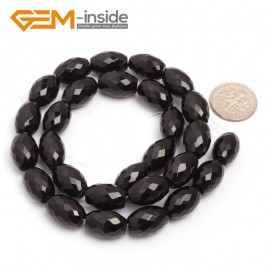 "G6837 10x14mm Olivary Natural Faceted Black Agate Onyx Loose Beads 15"" Jewelry Making Beads Natural Stone Beads for Jewelry Making Wholesale"