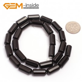 "G6859 7x15mm Column Faced Natural Black Agate Onyx Loose Beads Gemstone 15"" Crafts Making Natural Stone Beads for Jewelry Making Wholesale"