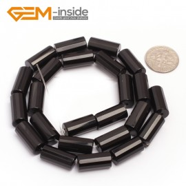 "G6861 8x16mm Column Faced Natural Black Agate Onyx Loose Beads Gemstone 15"" Crafts Making Natural Stone Beads for Jewelry Making Wholesale"