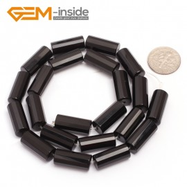 "G6862 8x18mm Column Faced Natural Black Agate Onyx Loose Beads Gemstone 15"" Crafts Making Natural Stone Beads for Jewelry Making Wholesale"