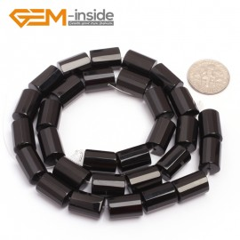 "G6863 9x12mm Column Faced Natural Black Agate Onyx Loose Beads Gemstone 15"" Crafts Making Natural Stone Beads for Jewelry Making Wholesale"