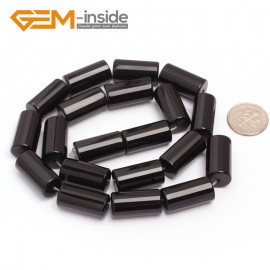 "G6864 10x20mm Column Faced Natural Black Agate Onyx Loose Beads Gemstone 15"" Crafts Making Natural Stone Beads for Jewelry Making Wholesale"