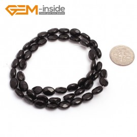 """G6866 6x8mm Oval Faceted Natural Black Agate Onyx Beads Stands 15"""" Natural Stone Beads for Jewelry Making Wholesale"""