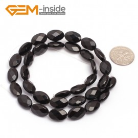 """G6868 8x12mm Oval Faceted Natural Black Agate Onyx Beads Stands 15"""" Natural Stone Beads for Jewelry Making Wholesale"""